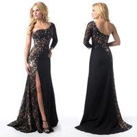Wholesale 2016 Sexy One Shoulder Sheer Black Lace Evening Gowns Beaded A Line Side Split Backless Formal evening Dresses EF3876