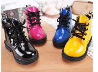 Wholesale 2014 Autumn Ankle Boots For Children Fashion Round Toe Sweet Patent Leather Martin Boots Boys And Girls Lace Up Military Boots