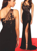Wholesale High Slit Black Sexy Evening Dress Fitted One SHoulder Lace Long Formal NIght Out Dresses Custom Size