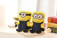 Wholesale 2 styles minions conditioning blanket pillow Despicable me cushion plush toys dolls minion office nap blankets christmas gift
