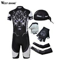 arm clothes - Wolf Paintted Men Bike Jersey Set Cycling Accessories Sunscreen Arm Sleeve Nonslip Bike Glove Hat Gel Pads Bicycle Bike Clothing