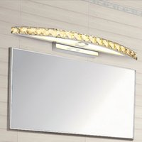 Wholesale Hot Selling Elegant W Champagne Clear LED Crystal Mirror Lamp Bathroom Wall Light Mirror Lighting Fixtures cm long CE ROHS