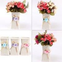 Wholesale Europe Rattan Flower Vase Storage Square Basket Jardiniere Decor Home WeddingParty Decoration