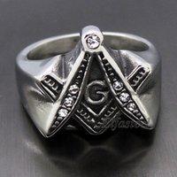 masonic - Men s Solid CZs Free Mason Masonic Symbol G L Stainless Steel Ring NewFashion