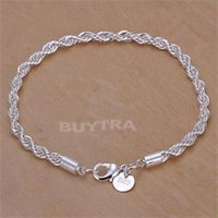 Wholesale Silver Bracelets Rope Lovely Women Bracelet Charm Gorgeous jewelry Twisted Line Chain Bracelets