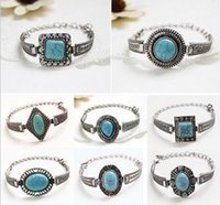 antique marquise settings - Antique Silver Bohimian Oval Round Marquise Drop Turquoise Bead Bracelet Bangle For Women Adjustable Chain Designs