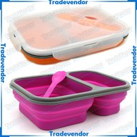 Wholesale Eco friendly Double in Foldable Silicone Lunch Box Silicone Folding Collapsible Lunch Box Retractable Picnic Box with Fork