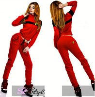 Wholesale 2015 European and American Style Hot Sexy Women Ferrary Stand Collar Long sleeved Hoodies Sports Cardigan Suit Sportswear Tracksuits Sets