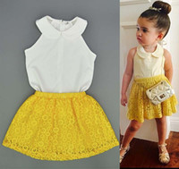 best turtleneck - Fashion Girl Dress Kid Best Suits Child Clothes Kids Clothing Summer White Tank Tops Lace Skirts Children Set Kids Suit Outfits C12453