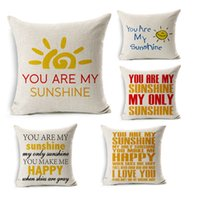 Wholesale Hot sale You Are My Sunshine Decorative Inspirational Quotes Pillow Cover Personalized Custom Cotton Linen Pillowcase style FreeDHL E349L