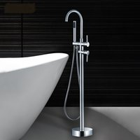 bath shower freestanding - Round Floor Mounted Freestanding Bath Filler Mixer Tap Faucet With Hand Shower Brass Chrome WONDLOV W51005