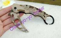 pocket folder - Camouflage Fox Claw Karambit Training Folder Folding blade knife EDC tactical knife outdoor gear pocket knife knives with retail box