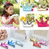 artificial girl game - 1 Cute Baby Girls Leather Xmas Party Game Gifts Party Hair Clips Crown Princess Barrette Ribbon
