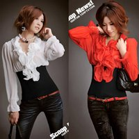 assorted blouse - Fashion Vintage Womens Ladies Ruffled Collar Long Sleeve Rib Cotton Chiffon Tops Blouses Shirt Assorted Color