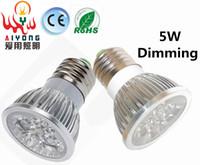 Wholesale Dimmable LED Spotlight W E27 led spotlights constant current source AC85 V energy saving light bulbs