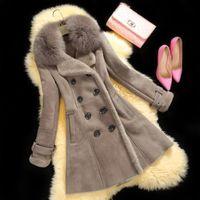 Wholesale 2014 Winter Luxury Fur Coat Fur Casacos Femininos Women Double Breasted Long Slim Double Face Fur Thick Plus Size Jacket