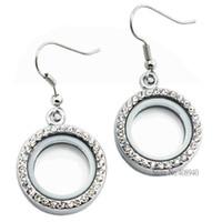 achat en gros de zinc boucles libres-1 paire !! Boucles d'oreilles rondes de 20mm argent pendentif en verre flottant locket de charme Alliage de zinc (chaînes inclus gratuitement) LSFL017-1 * 2