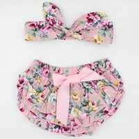 baby girls bloomers - 2016 New arrival stocks newborn baby girls fashion cotton ruffle bloomers toddler diaper cover with headband photo prop