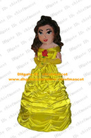Wholesale Pretty Yellow Beauty Belle Princess Mascot Costume Mascotte Rani Ranee Adult With Long Brown Hairs Big Eyes No Free Ship