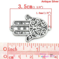 baby doll charmed - Charm Pendants Hamsa Symbol Hand Antique Silver Hollow Flower Pattern x2 cm K03752 pattern doll patterns for baby diapers