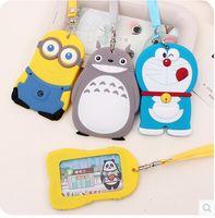Wholesale Kawaii Cartoon Doraemon Silicone Card Holder Anime Manga Casual Rubber ID Card Bag With String Totora Minions Pattern