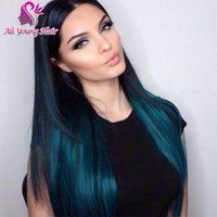 baby blue wig - 1b blue Ombre Glueless Full Lace Wigs Human Hair Brazilian Virgin Hair Lace Front Human Hair Wigs With Baby Hair Two Tone Color U Part Wig
