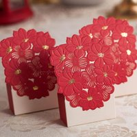 Wholesale Red Flower Wedding Favor Boxes Wedding Candy Box Casamento Wedding Favors And Gifts