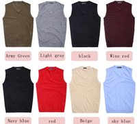 Wholesale sweater vest men s V neck solid color wool vest Seasons In Stock M87
