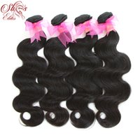 achat en gros de peut teindre les extensions de cheveux remy-Queen Hair Products brésilien remy Hair Body Wave, 100% Human Hair Weave Extensions 4pcs lot 12