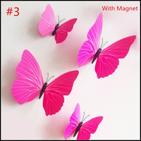 animal fridge magnets for kids - 12pcs set pin Magnet Fridge Room Butterfly Decoration colorful D Butterflies Wall sticker PVC Wall stickers kids gifts J090203 DHL FREESHP