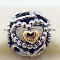 Compra Corazón del oro de la pulsera 925-925 plata esterlina pulseras de la joyería 14K oro verdadero cielo abierto de los corazones del grano del encanto europeo apto Estilo Pandora Collares pendientes