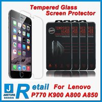 Cheap Retail- Lenovo K900 tempered glass Top Quality Lenovo A850 tempered glass Screen Protector 0.26MM 9H 2.5D Arc Explosion Proof Free shipping
