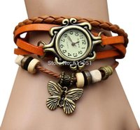 Wholesale Ladies Bracelet Watch Fashionable - Free Shipping 20pcs a Lot Change 2014 Fashionable Stylish Lady Woman Wrist Watch Leather Bracelet Butterfly Pendant
