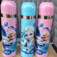 Wholesale XMAS Frozen Elsa Anna Princess Cups Water Bottles Baby Girls Boys Cartoon Mug Kids Children Stainless Steel Kettle GZ GD24