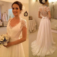 Wholesale Summer Beach Lace Wedding Dresses A Line Elegant Long Cheap White Ivory Bridal Gowns With V Neck Cap Sleeves Covered Button Dresse