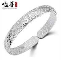 Wholesale 999 Sterling Silver Bracelet Female Thousand Lotus Sterling Silver Bracelet Women Lotus Bracelets Wide Bracelets