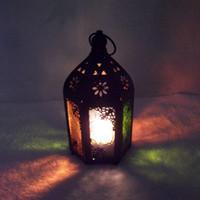 Wholesale Romantic fashion vintage multicolour glass tieyi mousse new classic black home nostalgic lantern desktop decoration