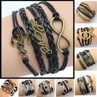 Wholesale 30pcs Designs Men Leather Bracelet Antique Cross Anchor Love Peach Heart Owl Bird Believe Pearl Knitting Bronze Charm Bracelets C2182
