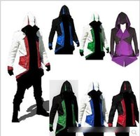 Wholesale 9 colors Assassins Creed III Conner Kenway Hoodie Coat Jacket Cosplay Costume Clothes Cool Gifts