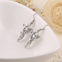 Wholesale 2016 a Lord of The Rings Arwen Evenstar Earrings Silver Plated With crystal the Hobbit Freeshipping wholesaleZJ y