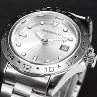 band japan - Brand AGENTX Casual Business Analog High Quality Steel Band Silver Case Japan Movement Quartz Mens Wrist Watch AGX094