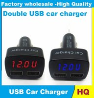 apple digital adapter - Interior Accessories Car Chargers in Vehicle Dual USB Car Charger Adapter Voltmeter Ammeter Monitor Thermometer Digital Display Car