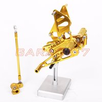 Wholesale CNC Rearsets Foot Rests Rear Set For HONDA CBR954RR Motorcycle Foot Pegs Aluminum alloy Yellow