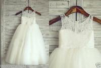 Wholesale TUTU Lace Tulle Ivory Flower Girl Dress Wedding Easter Junior Girl Dress Baby