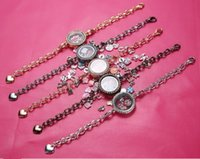 Cheap 25mm floating locket Rhinestone glass frames floating charm lockets Bracelet Multicolor optional A063