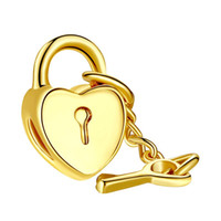 Wholesale TOP Quality k Gold Plated Key to Heart Charm Beads Fit Original Pandora Bracelet Pendants For Women Jewelry