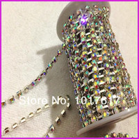 Crystal ab promotions - Big Promotions yards mm SS20 Round Cup chain Crystal AB Silver base shiny Dress crystal rhinestone cup chain Sparse claw
