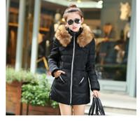 Wholesale 2016 Down Jacket Women Winter Coats Fur Hooded Slim Long Duck Down Parka M XL Fashion Outwear Winter Jackets Women Plus Size