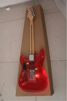 Wholesale New Arrival High Quality Transparent Red Acrylic Plexiglass Electric Guitar With Personality Tape led lighting