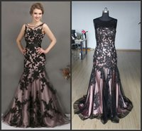 appliques - 2015 Stock Black Applique Mermaid Prom Dresses Full Length Jewel Neck Evening formal gown